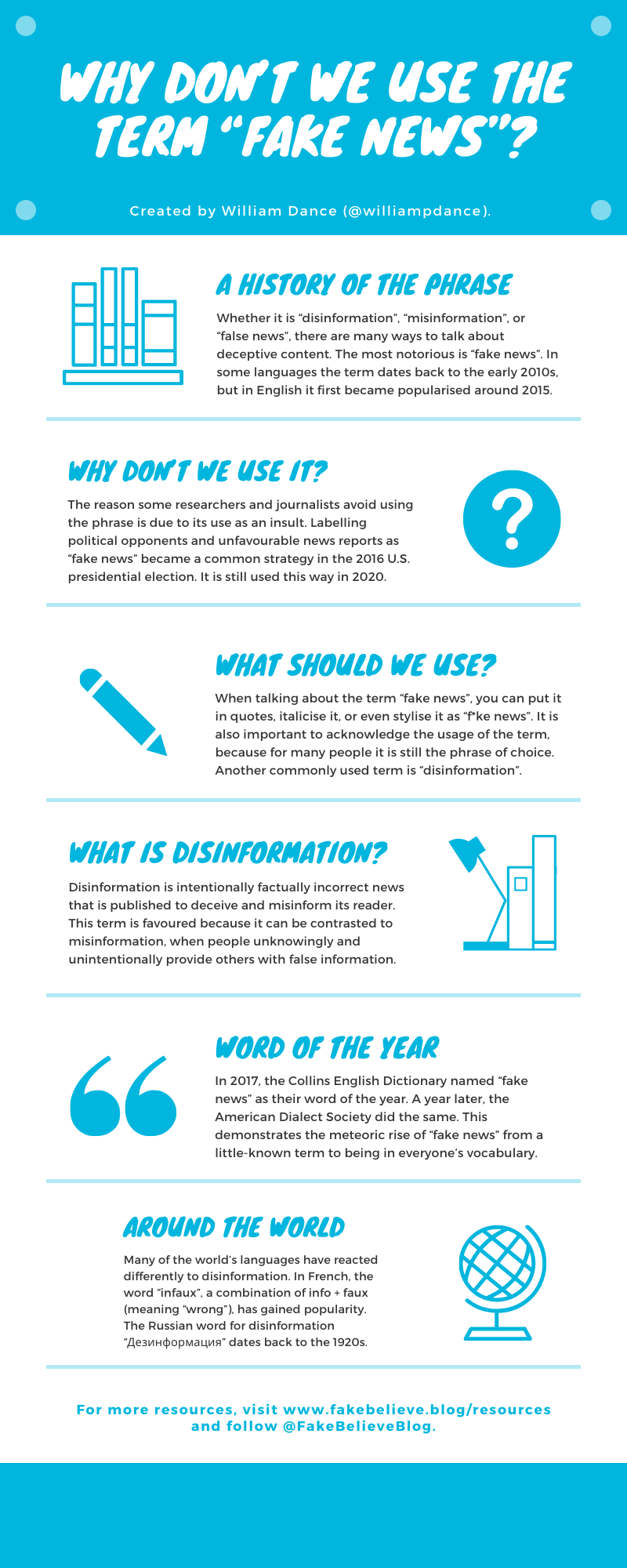 An infographic explaining why the phrase fake news is often avoided by some researchers and journalists